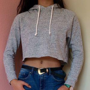 H&M: Basic Grey Crop Hoodie XS